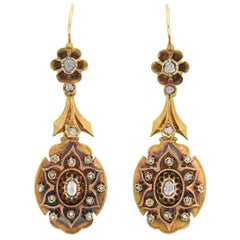 Victorian 18 Karat Yellow Gold and Old Rose Cut Diamond Dangle Earrings