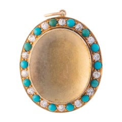 Victorian 18 Karat Yellow Gold and Persian Turquoise and Diamond Locket
