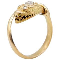 Victorian 18 Karat Yellow Gold and Rose Cut Diamond Snake Ring