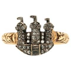Victorian 18 Karat Yellow Gold and Silver Diamond Castle Ring, circa 1850s