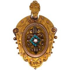 Victorian 18 Karat Yellow Gold Antique Locket Pendant