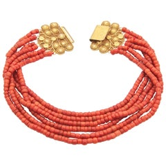 18 Karat Yellow Gold Red Coral Necklace
