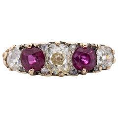 Victorian 18 Karat Yellow Gold Diamond and Ruby Engagement Ring, circa 1900s