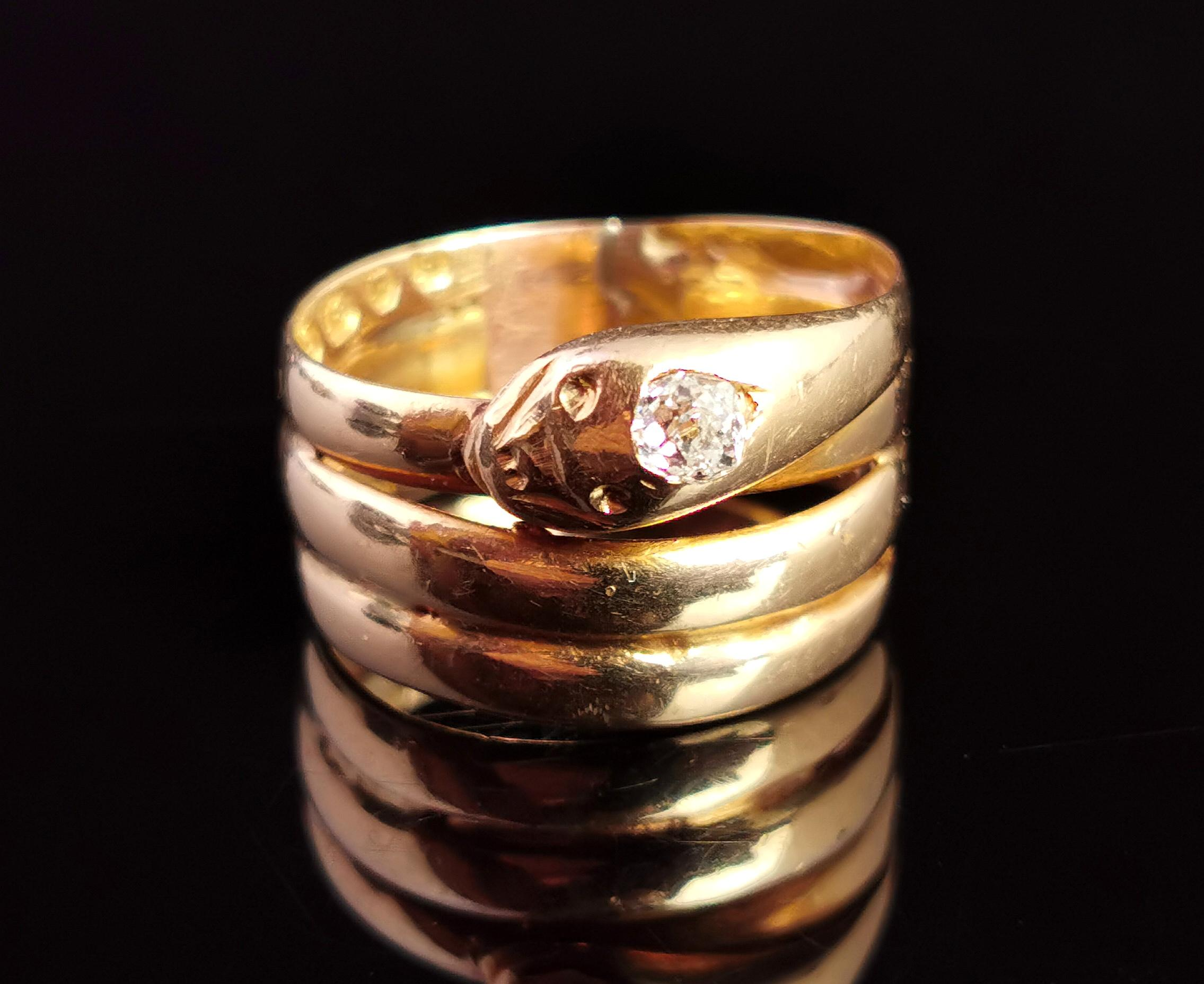 Victorian 18 Karat Yellow Gold Diamond Snake Ring