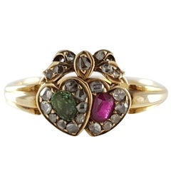 Victorian 18 Karat Yellow Gold Emerald Ruby and Diamond Conjoined Hearts Ring
