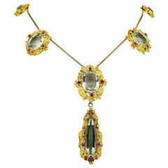 Victorian 18 Karat Yellow Gold Ladies Necklace with Aquamarines and Rubies