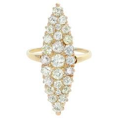 Victorian 18 Karat Yellow Gold Old Cut Diamond Navette Ring