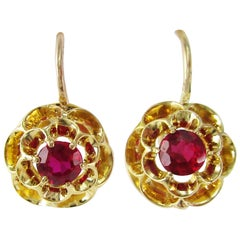 Victorian 18 Karat Yellow Gold Red Ruby Flower Dangle Earrings