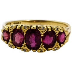 Victorian 18 Karat Yellow Gold Ruby and Diamond Five-Stone Half Hoop Ring