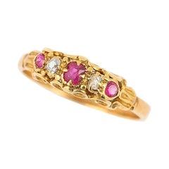 Victorian 18 Karat Yellow Gold Ruby and Diamond Five-Stone Ring, circa 1890