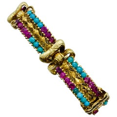 Victorian 18 Karat Yellow Gold Turquoise and Ruby Engraved 6 Section Bracelet
