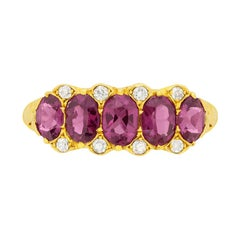 Victorian 1.80 Carat Garnet and Diamond Five-Stone Ring, circa 1900s
