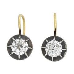 Victorian 1.80 Total Carat Mine Cut Diamond Earrings