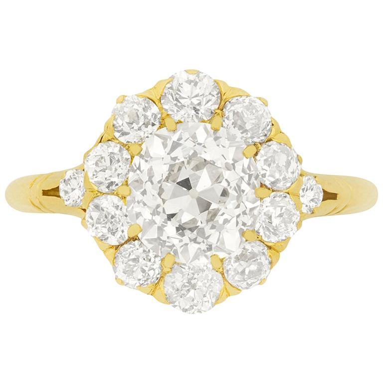 Victorian 1.82 Carat Diamond Halo Ring, circa 1880s