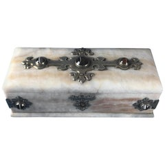 Victorian 1850 Agate and Brass Bound Alabaster Stationary Box