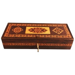 Victorian 1850 Rosewood Mosaic Inlaid Tunbridge Ware Box