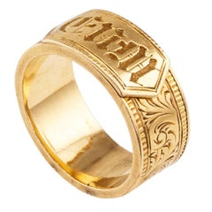 Victorian 1850s Memorial Gold Ring Band