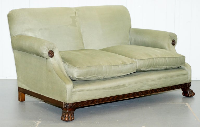 Victorian 1860 Mahogany Sofa Armchair Suite Lion Hairy Paw Feet, 17th Century For Sale 4