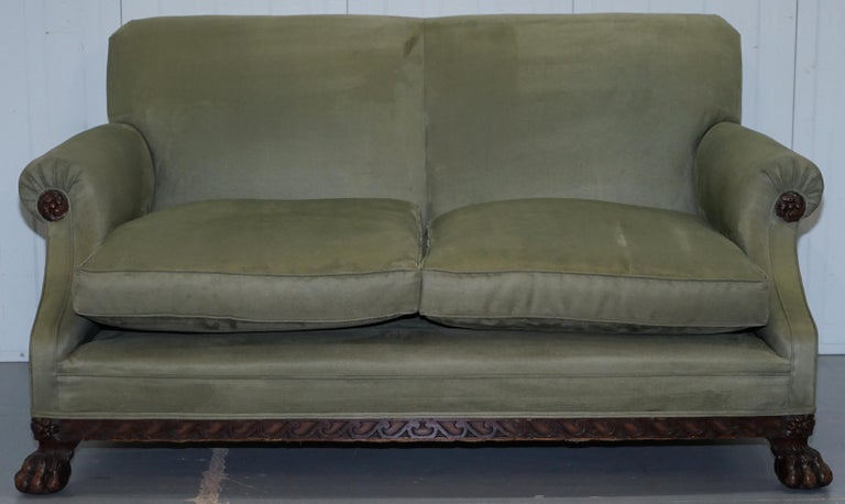 Victorian 1860 Mahogany Sofa Armchair Suite Lion Hairy Paw Feet, 17th Century For Sale 5