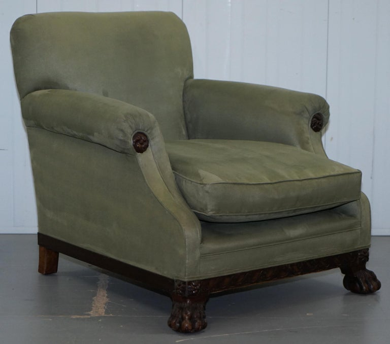 English Victorian 1860 Mahogany Sofa Armchair Suite Lion Hairy Paw Feet, 17th Century For Sale