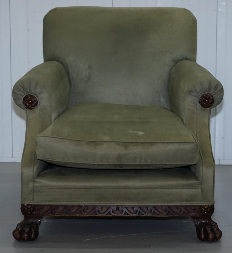 Hand-Crafted Victorian 1860 Mahogany Sofa Armchair Suite Lion Hairy Paw Feet, 17th Century For Sale