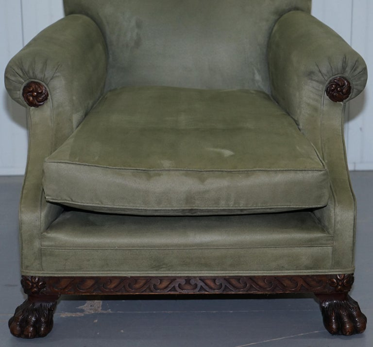 19th Century Victorian 1860 Mahogany Sofa Armchair Suite Lion Hairy Paw Feet, 17th Century For Sale