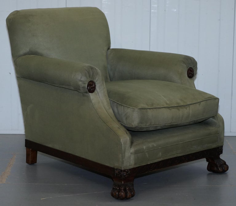 Victorian 1860 Mahogany Sofa Armchair Suite Lion Hairy Paw Feet, 17th Century For Sale 1
