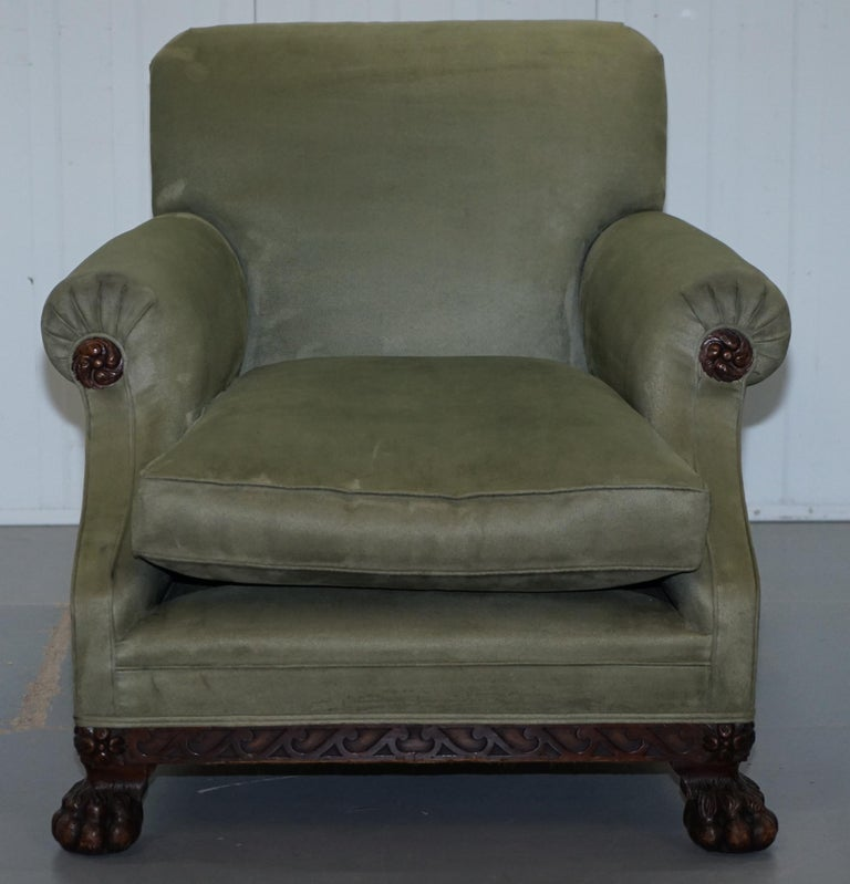 Victorian 1860 Mahogany Sofa Armchair Suite Lion Hairy Paw Feet, 17th Century For Sale 2