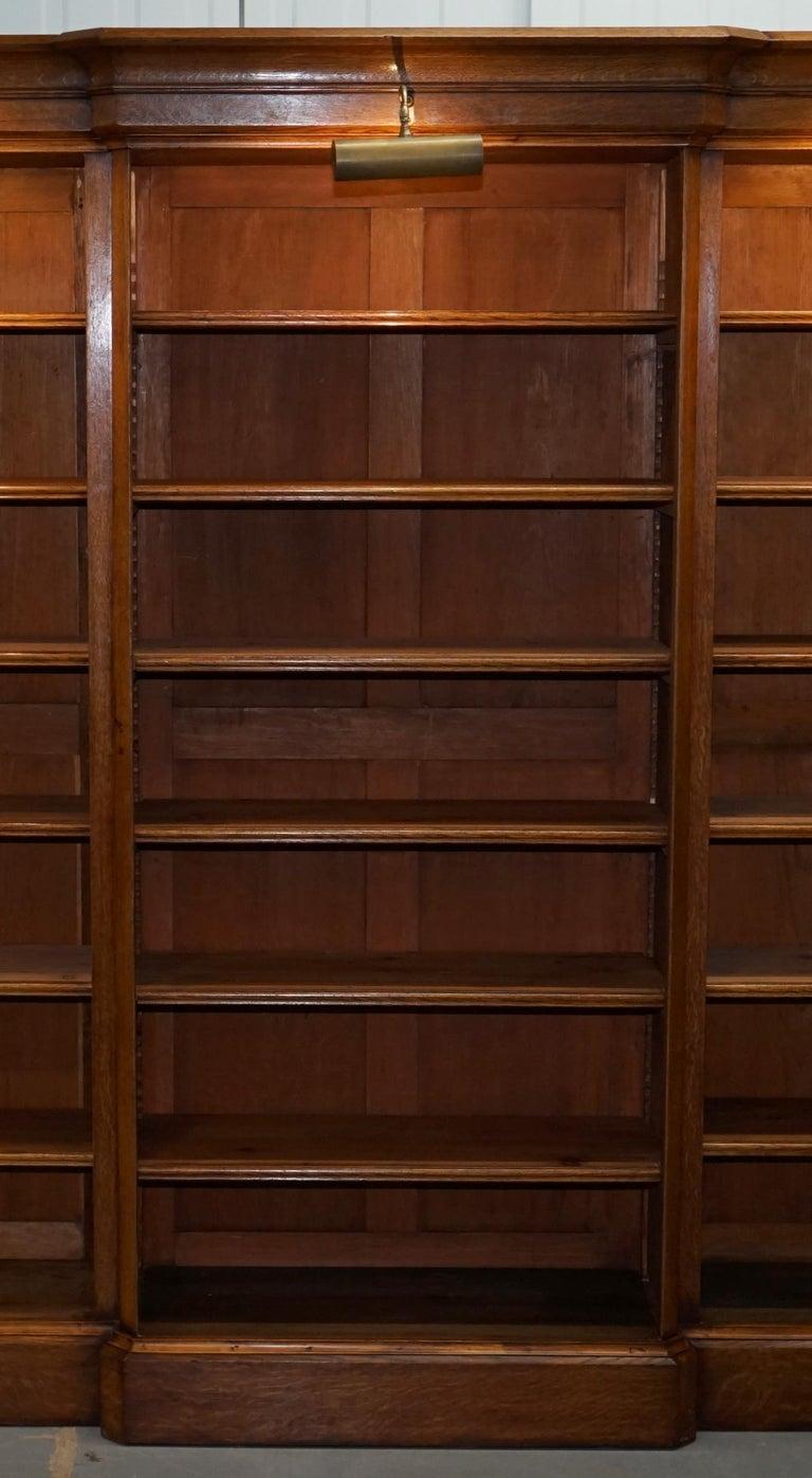 Victorian 1860 Oak Breakfront Library Open Bookcase ...
