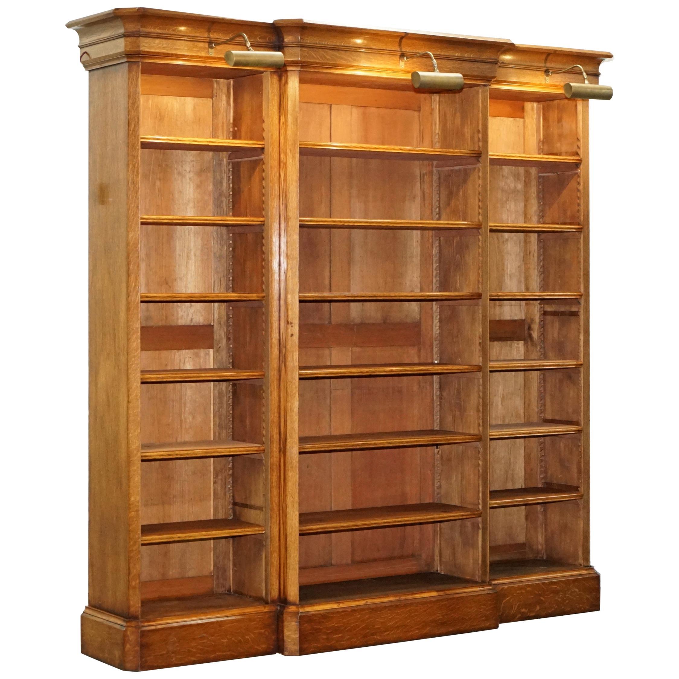 Bon Victorian 1860 Oak Breakfront Library Open Bookcase Adjustable Shelves U0026  Lights