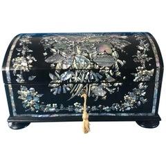 Victorian 1860 Papier-Mâché Sewing Box