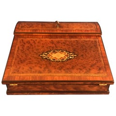 Victorian 1870 Burr Cedar Ladies Lap Desk