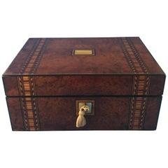 Victorian 1870 Inlaid Burr Walnut with Tunbridge Ware Banding Box