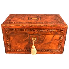 Victorian 1870 Walnut Inlaid Tulipwood Tunbridge Ware Tea Caddy