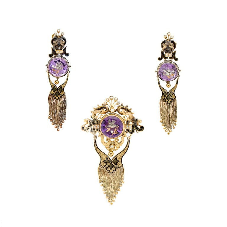 Victorian 1870s Amethyst Intaglio Brooch and Earring Set