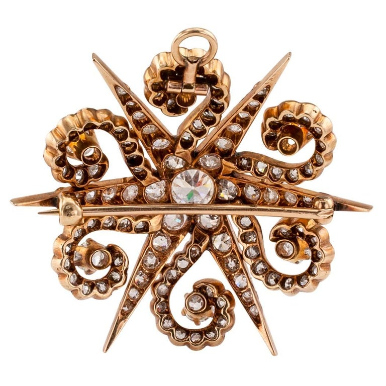 Victorian 1870s Starburst Diamonds Gold Brooch Pendant In Excellent Condition For Sale In Los Angeles, CA