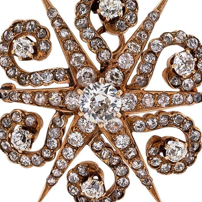 Women's Victorian 1870s Starburst Diamonds Gold Brooch Pendant For Sale
