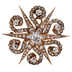 Victorian 1870s Starburst Diamonds Gold Brooch Pendant