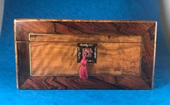 Victorian 1880 Rosewood, Olive Wood and Brass Inlaid Jewellery Box