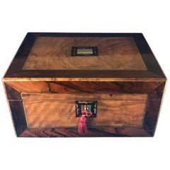Victorian 1880 Rosewood, Olive Wood and Brass Inlaid Jewelry Box
