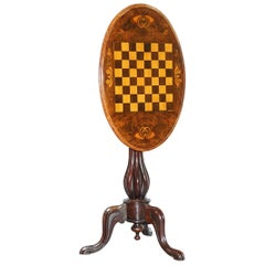 Victorian 1880 Walnut Marquetry Inlaid Chess Tilt-Top Games Table Ornate Legs