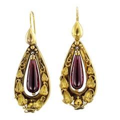Victorian 1880s Garnet Gold Pendent Earrings