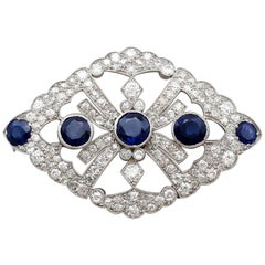 Victorian 1890s 4.84 Carat Sapphire and 4 Carat Diamond White Gold Brooch