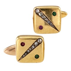 Victorian 1890s Cuff Links Rose Cut Diamonds Emerald Ruby Gold