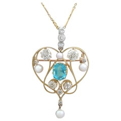 Victorian 1890s Diamond and Aquamarine, Pearl and Yellow Gold Pendant / Brooch