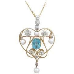 Victorian 1890s Diamond Aquamarine Pearl and Yellow Gold Pendant or Brooch