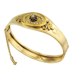 Victorian 1890s Enamel Seed Pearl Hinged Gold Bangle