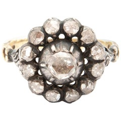 Victorian 1890s Old Cut Diamond 14 Karat Gold and Silver Cluster Ring