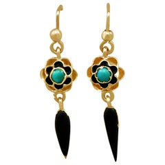 Victorian 1890s Turquoise and Enamel Yellow Gold Earrings