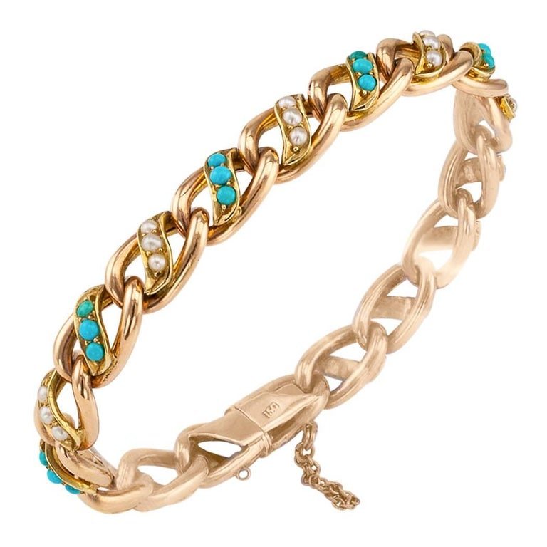 Victorian 1890s Turquoise Pearl Gold Bracelet